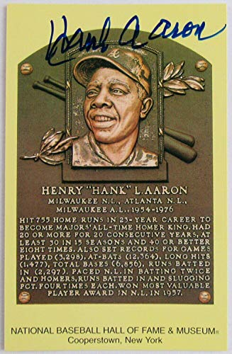 Hank Aaron Signed Auto Autograph Scenic Art HOF Plaque Postcard - MLB Cut Signatures from Sports Memorabilia