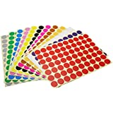 LJY Round Dot Stickers Color Coding Labels, 12 Different Assorted Colors Dot Labels, 12 Sheets (19mm)