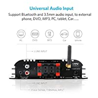 Mini Stereo USB Bluetooth Power Amplifier 2.1 Channel Hi-Fi Audio Amplifier for Home Car Motorcycle Boat Tablet PC Laptops, 2 x 45W & 68W, USB/ Bluetooth/ SD/ TF Card Supported