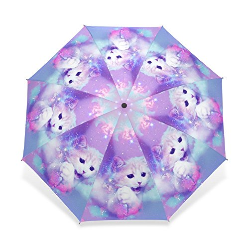 Exclusive custom LiFei Business Unique Design Cat Parasol Umbrella 3 Folding Automatic Child Women Rain Umbrella Girl Lovely Animal