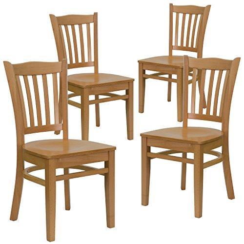 Flash Furniture 4 Pk. HERCULES Series Vertical Slat Back Natural Wood Restaurant Chair ()