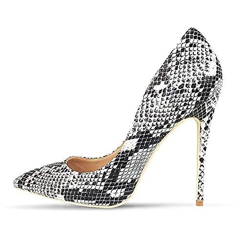 - Miluoro Snake Printing Women High Heels Fashion Party Wedding Sexy Pumps Shoes (9, Black&White)