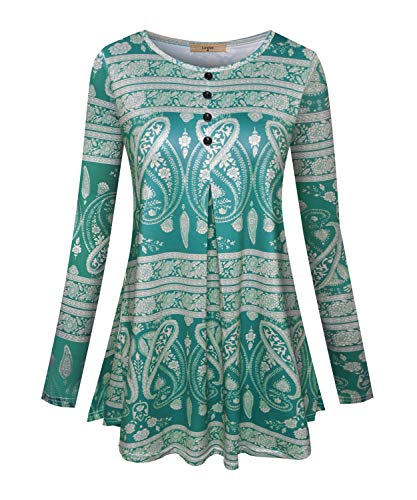Luranee Comfy Shirts for Women, Long Sleeve Misses Work Blouses Career Tops House Office Party Wear Outfits Stylish Trendy Leisure Cozy Cool Formal Tunics Green Large