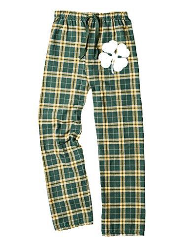 LOGOPOP Unisex Plaid Pants Clover Unisex Flannel Pants, L, Green/Gold ()