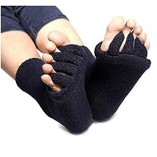 Flesser Yoga Sports GYM Five Toe Separator Socks Alignment Pain Health Massage Socks (Black), 28x8cm