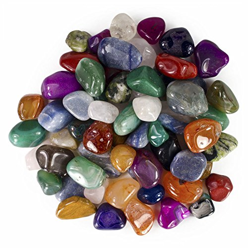 Hypnotic Gems Colorful Natural and Dyed Tumbled Stone Mix - 75 Pcs - Small Size - 0.75