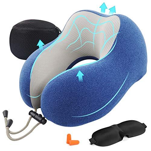 🥇 AGAKY Almohada de Viaje Almohada Cuello Espuma Memoria Sueño Suave-Tela Terapia magnética – Funda Terciopelo extraíble y Lavable- Máscara Dormir