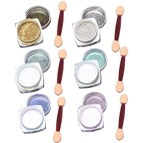 Gosear 6 Pcs 1g Nagel Pigment Mirror Powder Nail Glitzer Spiegel Effekt Pulver Glitter mit Sponge Stick