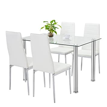 b79dec9426846 Bonnlo 5 Pieces Dining Table Set Modern Home Kitchen Dining Table Chair Set  Glass Top Metal Frame  Amazon.ca  Home   Kitchen