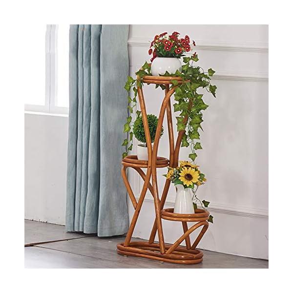 Cxraiy-HO Supporto per Fiori Balcone a Tre Piani Piano Pot Rack Rattan Flower Stand Outdoor Living Room Impianto di… 2 spesavip
