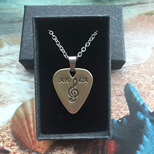 Bronze Guitar Pick/Guitar Pick Necklace Pick/Personalized Fashinable Guitar Picks/Pendant Plectrum,2PCS Chains
