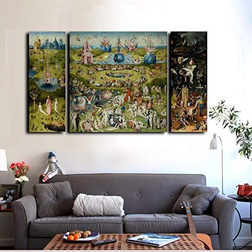 wjwei 3 Unids Impresiones De Lienzo Arte De Pared Pintura Al Oleo Famosa El Jardin De Las Delicias Impresiones En Lienzo Decoracion para El Hogar 25X70Cmx2 70X70Cm