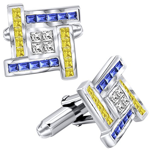 Cut Silver Cufflinks (Men's Sterling Silver .925 Cufflinks with Canary Yellow, Azure Blue and White Princess-Cut Cubic Zirconia Stones, Platinum Plated, 16 mm. By Sterling Manufacturers)