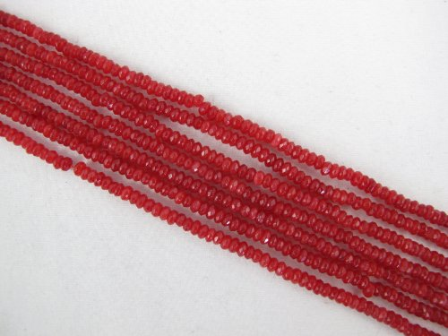 Mountain Jade Beads (BRCbeads Mountain Jade (Dyed) Red/Orange Color 2x3mm Faceted Rondelle 205pcs 15.5'' Per Strand)