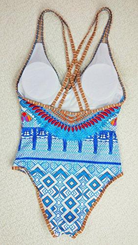 Mujer Bañador Estampado Bohemia Bikini Traje De Baño Para Con Aros Azul Como la imagen