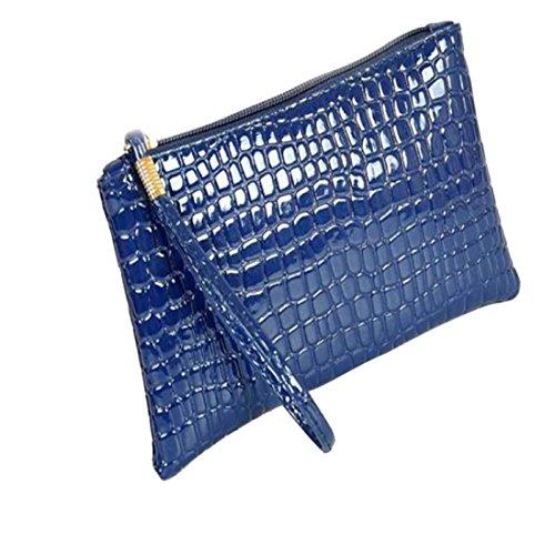 de de del del del Bolso Las Bolso Mujer Cuero del Hombro de Embrague Bolsos Azul ✦JiaMeng la Mujeres Moneda cocodrilo 6nqfXRaxw