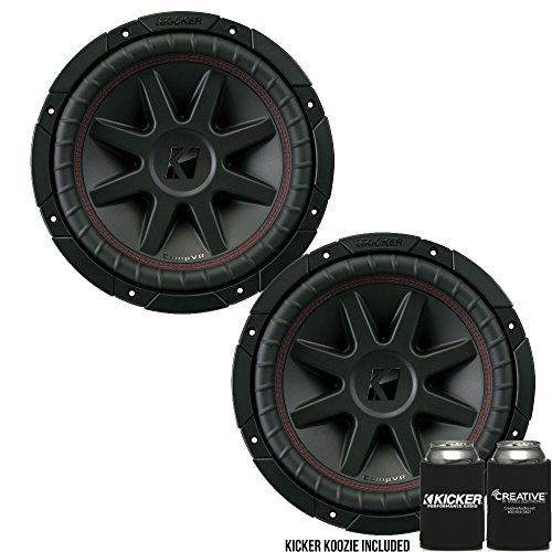 KICKER CVR10 CompVR 10-Inch (250mm) Subwoofer, 4-Ohm DVC Bundle ()