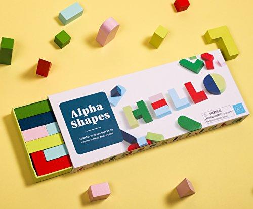 Chronicle Books Alpha Shapes (Desk Décor, Educational Toys, Colorful Wooden Blocks)