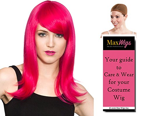 Hana Deluxe Party Girl Color Periwinkle - Enigma Wigs Women's Mid Length Hannah Montana Style Side Swept Bangs Bundle with Wig Cap, MaxWigs Costume Wig Care Guide
