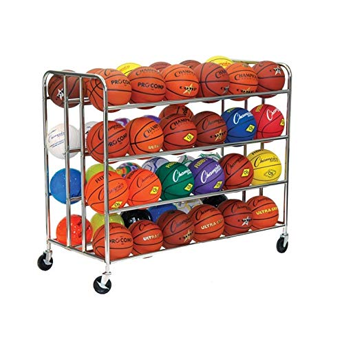 Champion Sports Double Ball Rack, 48 Ball Capacity (Chrome) by Champion Sports (Image #1)