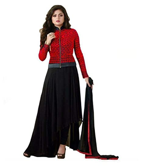 abcebc40c2 Home Fashion Women black Georgette Anarkali Gown Semi-Stitched Suit:  Amazon.in: Clothing & Accessories