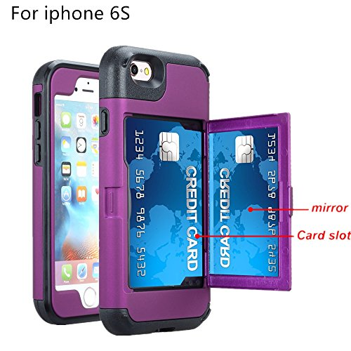 1.5' Glitter (iPhone 6S case, TOPBIN [3 in 1] & [1 Card Slots] Hard PC+ Soft Silicone Cosmetic Mirror Anti-Scratch Hybrid Full-Body Dual Guard Protective Case for Apple iPhone 6S case (Purple))