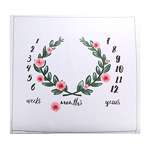 Baby Floral Wreath Print Milestone Blanket with Monthly Growth Chart Backdrop (Flower)