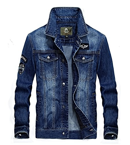 Youth Mens fashion lapel denim jeep Motorcycle denim jacket coat (m, jean bule)