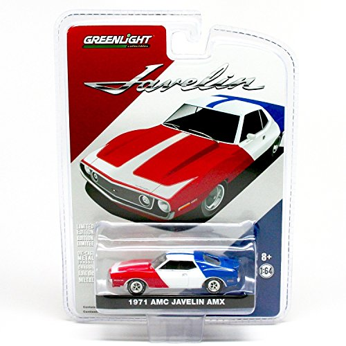 Amx Javelin (1971 AMC JAVELIN AMX (Red, White & Blue) 1:64 Scale 2015 Greenlight Collectibles Limited Edition Hobby Exclusive Die-Cast Vehicle)