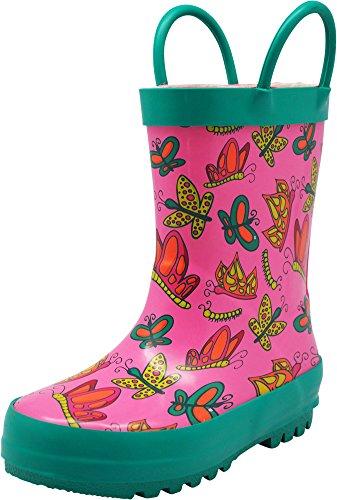 NORTY - Toddler Girls Butterflies Print Waterproof Rainboot, Pink, Teal 40139-7MUSToddler
