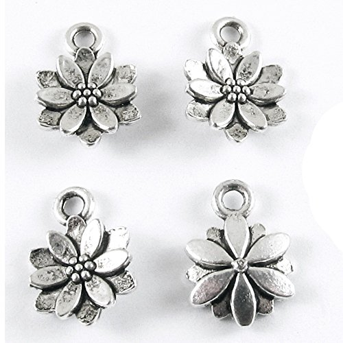 14 Mm Flower (SILVER SMALL LAYERED FLOWER METAL CHARMS 10x14mm (50 Pieces))