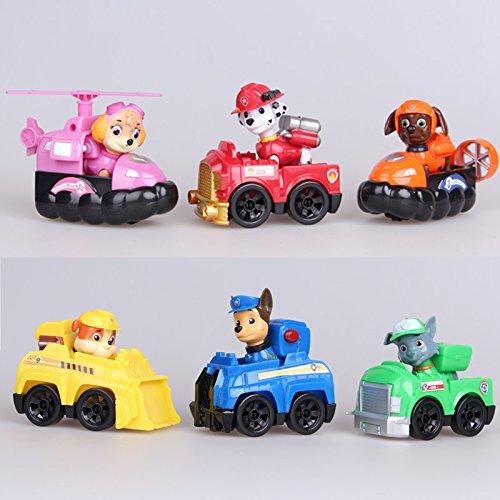 Paw Patrol Patrulla Canina Con Su Vehículo Set 6 Figuras Con Bolsa De Plastica Sin Caja 95588cm Piezas Desmontables Más De 3 Años