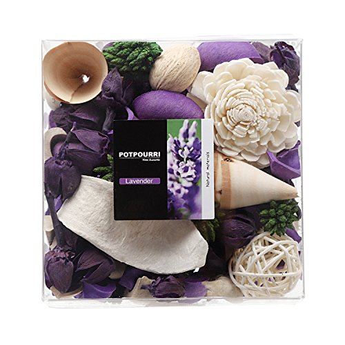 Qingbei Rina Gifts, Lavender Scent Potpourri Bag, Including Flowers, Petal, Pinone, Rattan Ball, Sepa Takraw, Perfume Satchet in PVC Bags.Home Decoration, 10.2oz ()
