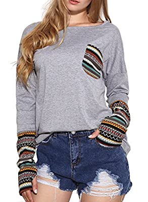 LILBETTER Women's Long Sleeve Round-Neck Patchwork Casual Loose T-Shirts Blouse Tops With Thumb Holes