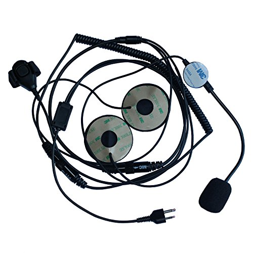 Cb Wiring Mic Radio (GoodQbuy 2 Pin Half/Open Face Helmet Motorcycle Earphone Headphone with Microphone for Midland/Alan Midland/Alan GMRS/FRS GXT/LXT GXT1000VP4 LXT500VP3 GXT1050VP4 2 Two Way Radios 2-pin Jack)