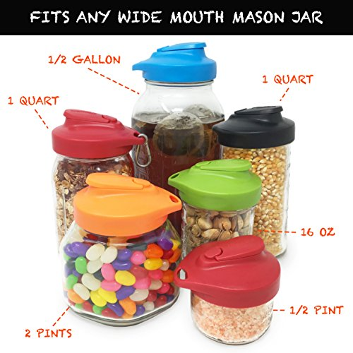 Masontops Multi Top Plastic Mason Jar Lids with Pour Spout and Flip Cap - Sip, Pour, Store & More - Fits Any Wide Mouth Mason Jar - 2 Pack Black by Masontops (Image #4)