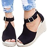 Ru Sweet Women's Espadrille Wedges Sandals Peep Toe PU Belt Buckle Blocking Adjustable High Platform Ankle Strap Summer Shoes