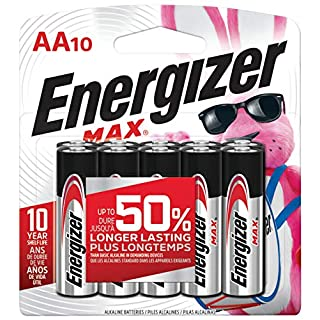 Energizer AA Batteries (10 Count), Double A Max Alkaline Battery