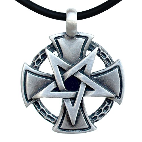 OhDeal4U Inverted Pentacle Pentagram Star Cross Charm Pewter Pendant (Black PVC Cord) ()