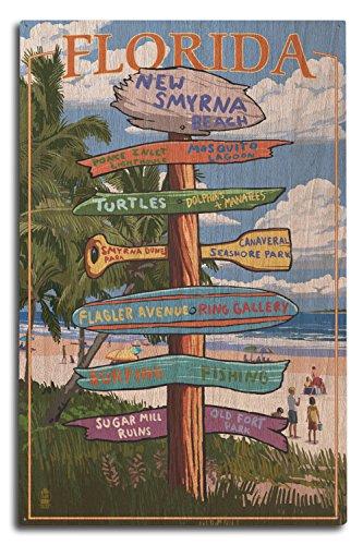Lantern Press New Smyrna Beach, Florida - Destinations Sign (10x15 Wood Wall Sign, Wall Decor Ready to Hang)
