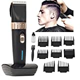 [New Version 2018] Men 's Professional Hair Clippers Precision Cordless Fade Clipper Hair Trimmer Set 8 Guides Combs, Trimmer for Men, Women, Kids, Barbers and Stylists