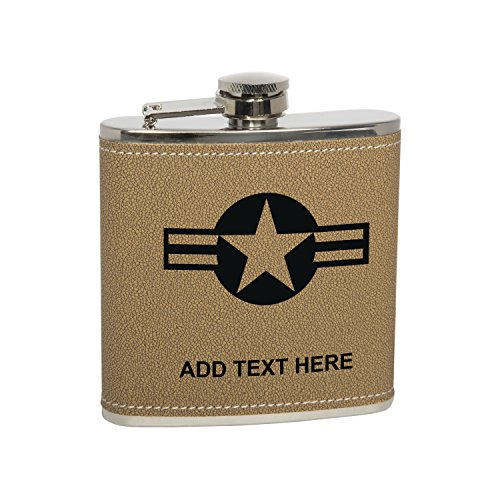 6oz Stainless Steel US Air Force Star & Stripes Heavy Duty Hip Flask Gift Set Includes Funnel & Gift Box Natural Leather ()