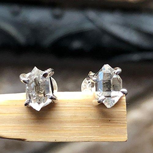 Stone Silver Long Earrings - Natural Herkimer Diamond 925 Solid Sterling Silver Cluster Healing Stone Stud Earrings 7mm Long