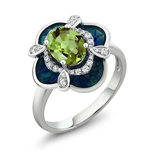 Gem Stone King 1.62 Ct Oval Green Peridot 925 Sterling Silver Enamel Flower Ring (Size 5)