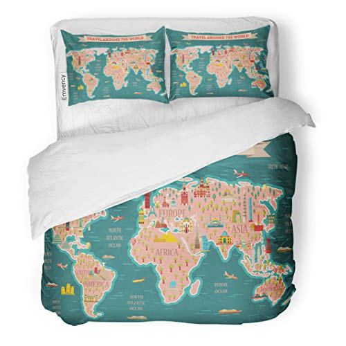Emvency Bedding Duvet Cover Set World Travel Map and Tourism London Paris Moscow Rome New York Asia Dubai India China Thailand Famous 3 Piece Set with 2 Pillow Shams Queen 90