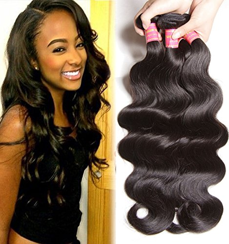 B&F Hair Brazilian Weave Virgin Hair Body Wave Weft 4 Bundles 100% Unprocessed Human Hair Extensions Natural Color (100+/-5g)/pc (14 16 18 - Warehouse Mens Returns Policy