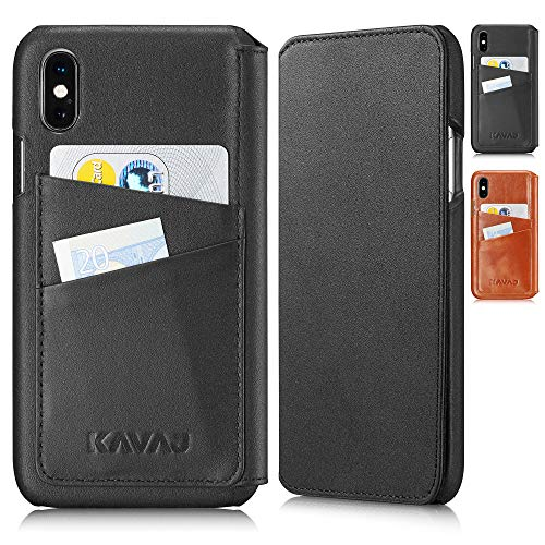 KAVAJ iPhone Xs/X 5.8 Case Leather Dallas Black, Supports Wireless Charging (Qi), Slim-Fit Genuine Leather iPhone Xs Wallet Case Leather Bumper Case with Business Card Holder Cover