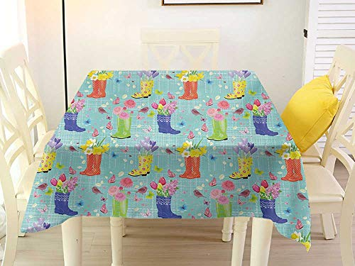 L'sWOW Square Tablecloth Cover Spring Rubber Boots with