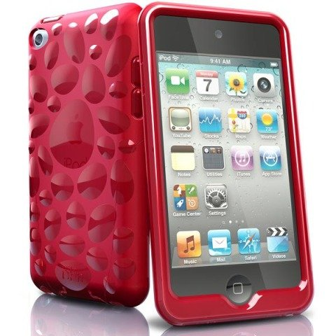 iSkin Pebble TPU Jelly Case for iPod Touch 4G (Red)