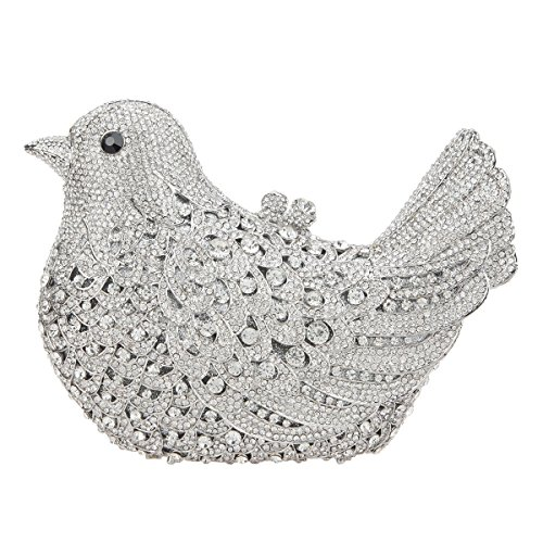 - Fawziya Bird Hard Case Clutch Purse Luxury Crystal Evening Clutch Bags-Silver